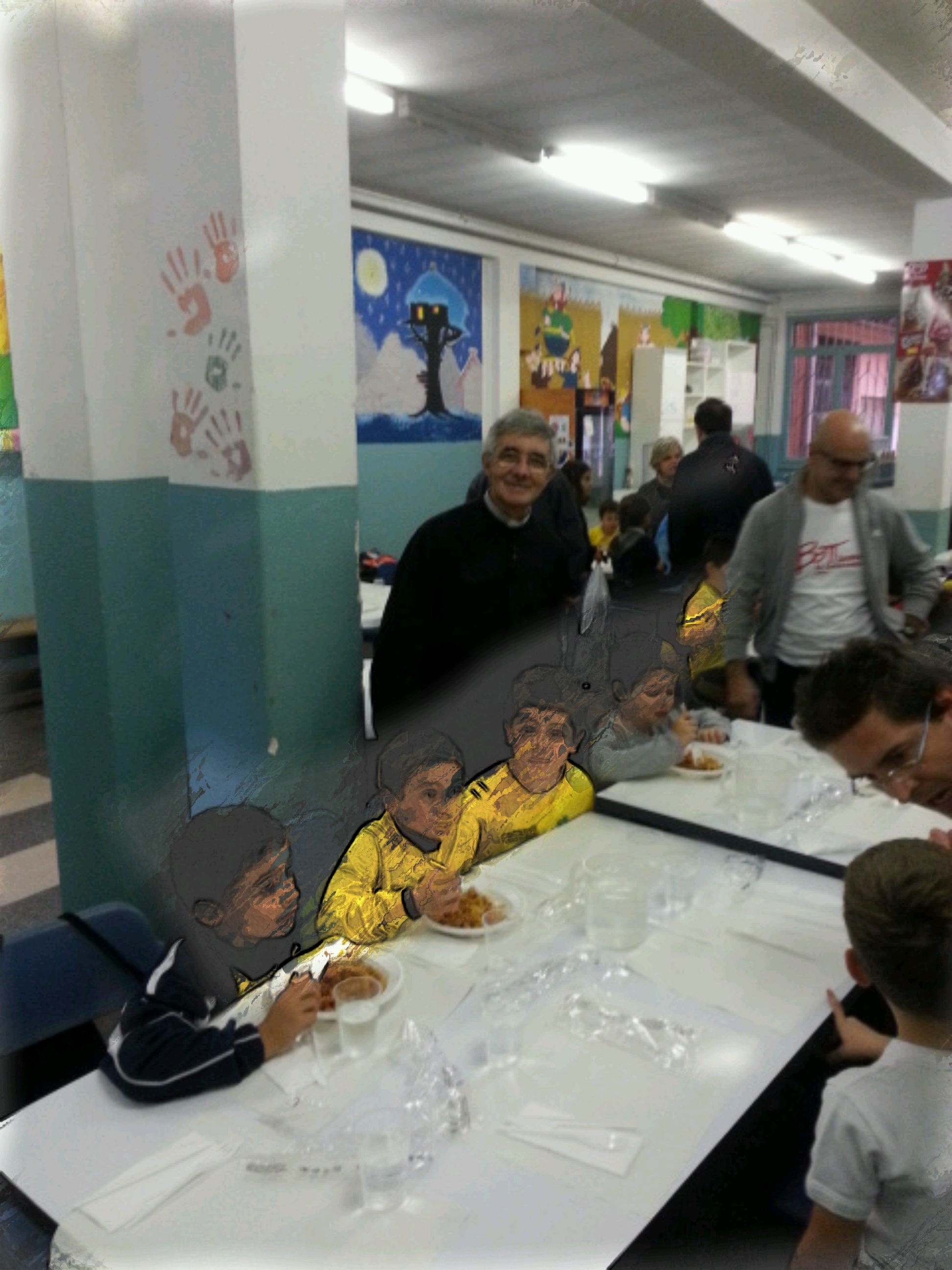 Don Giampiero con atleti